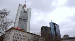Low angle Commerzbank tower, Deutsche Bank IBCF, Main Tower, Frankfurt Stock Footage