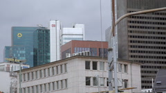 Deutsche Bahn, Commerzbank skyscrapers, Frankfurt skyline, Germany Stock Footage