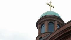 Römer golden cross green dome, Frankfurt am Main, Germany - stock footage