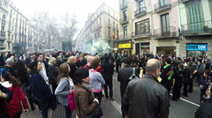 Correfocs is one of the main attractions of annual Festa Major de Gracia Stock Footage