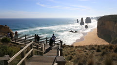 Amazing rock 12 Apostles on the Great Ocean Road Stock Footage