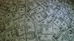 Dolly shot of pile of American banknotes fufty 50 dollars notes 4k Stock Footage