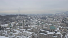 Panoramic view of Salzburg's cityscape on a winter day Stock Footage