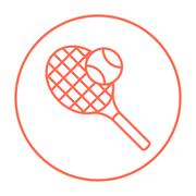 Tennis racket and ball line icon - stock illustration