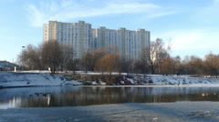 Urban Building on a Background of the Pond . Stock Footage