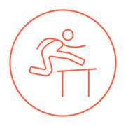 Man running over barrier line icon Piirros