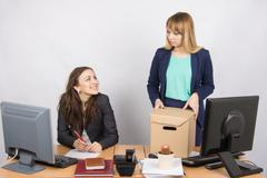 Office employee satisfied dismissal colleagues Stock Photos