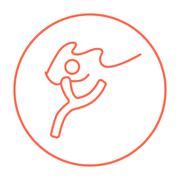 Gymnast with tape line icon Stock Illustration
