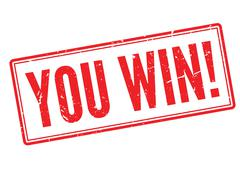 You win! red rubber stamp on white - stock illustration