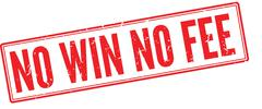 No Win No Fee red rubber stamp on white - stock illustration