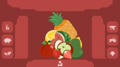 Fruits  - Vector Graphics - Food Animation - menu Stock Footage