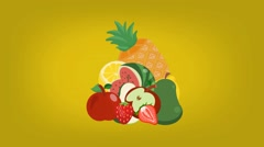 Fruits  - Vector Graphics - Food Animation - yellow Stock Footage