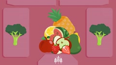 Fruits  - Vector Graphics - Food Animation - pink Stock Footage
