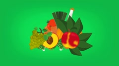Tropical Food  - Vector Graphics - Food Animation - green Stock Footage