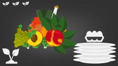 Tropical Food  - Vector Graphics - Food Animation - grey Stock Footage