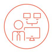Network administrator line icon Stock Illustration