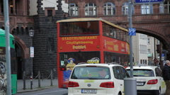 Frankfurt am Main, city sight seeing bus drives down street, Germany - stock footage