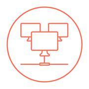 Computer network line icon - stock illustration