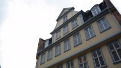 Goethehaus, house of Johann Wolfgang Goethe, pan right, Frankfurt am Main Stock Footage