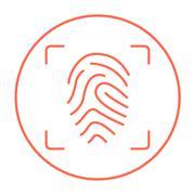 Fingerprint scanning line icon - stock illustration