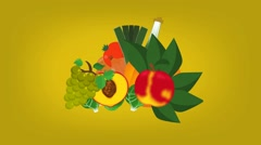 Tropical Food  - Vector Graphics - Food Animation - yellow Stock Footage