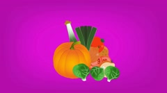 Vegetables  - Vector Graphics - Food Animation - hard pink Stock Footage