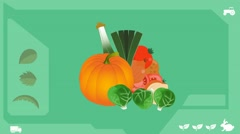 Vegetables  - Vector Graphics - Food Animation - healthy Stock Footage