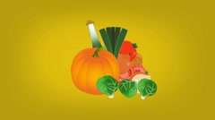 Vegetables  - Vector Graphics - Food Animation - yellow Stock Footage