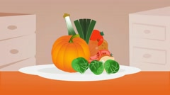Vegetables  - Vector Graphics - Food Animation - plate Stock Footage