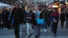 Crowd of people cross street zebra crossing, Frankfurt am Main, Germany Stock Footage