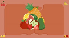 Fruits  - Vector Graphics - Food Animation - board Stock Footage