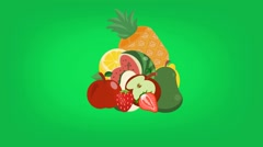 Fruits  - Vector Graphics - Food Animation - green Stock Footage