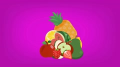 Fruits  - Vector Graphics - Food Animation - hard pink Stock Footage