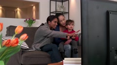 Happy Gay People Homosexual Couple Women Watching TV With Daughter Stock Footage