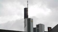 Frankfurt am Main skyline view, Commerzbank tower skyscraper, Germany Stock Footage