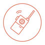 Portable radio set line icon - stock illustration