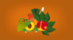 Tropical Food  - Vector Graphics - Food Animation - orange Stock Footage