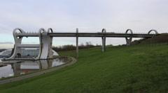 Timelapse of boat aqueduct to Falkirk wheel boat lift Falkirk Scotland Stock Footage