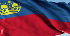 Ultra realistic looping flag: Liechtenstein Stock Footage
