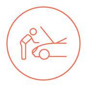Man fixing car line icon Stock Illustration