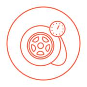 Pressure gauge tyre  line icon - stock illustration