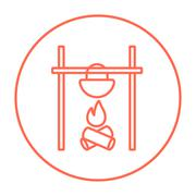 Cooking in cauldron on campfire line icon - stock illustration