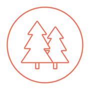 Pine trees line icon - stock illustration