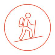 Tourist backpacker line icon Stock Illustration