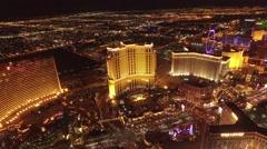 The Palazzo, Treasure Island, and Wynn Casino: Las Vegas 4K Night Aerail Footage Stock Footage