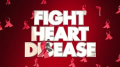 Fight Heart Disease Awareness Ribbons Healthy Lifestyle Campaign Stock Footage