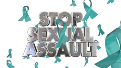 Stop Sexual Assault Rape Violence Against Women Ribbons Awareness Stock Footage