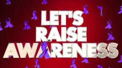 Let's Raise Awareness Disease Fundraiser Campaign Ribbons 3D Words Stock Footage