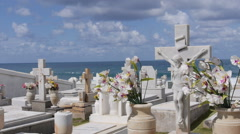 Beautiful cemetery next to the ocean in Old San  Stock Footage