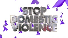 Stop Domestic Violence Awareness Ribbons Prevent Abuse 3d Words Stock Footage